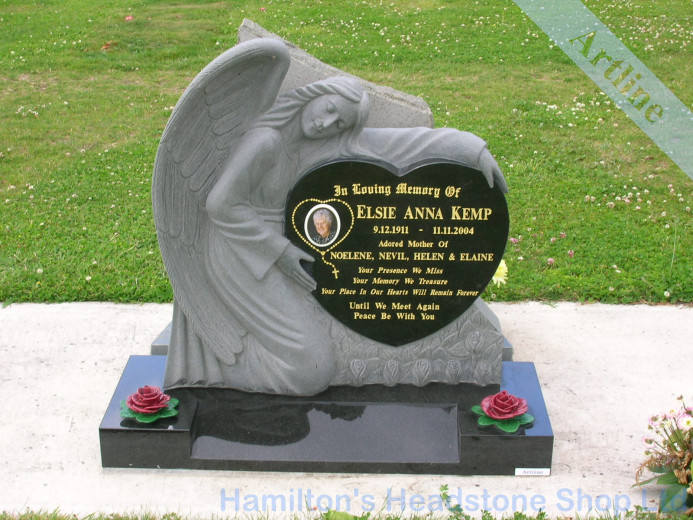 Angel Heart Black Headstone