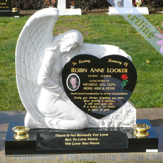 Angel Heart White Pearl Headstone