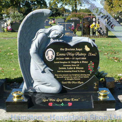 Angel Holding a Heart Memorial Headstone