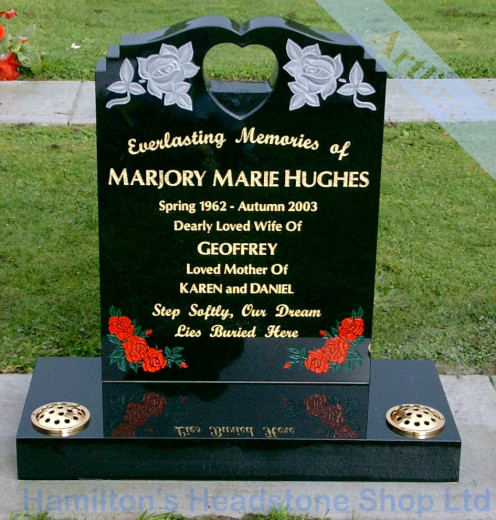 Heart and Roses Headstone