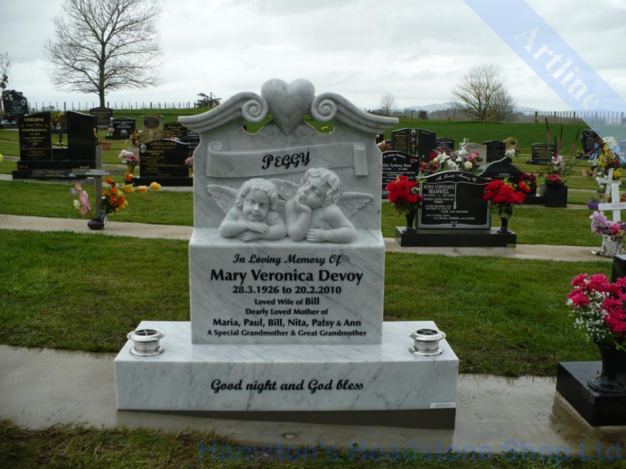 Carved Marble Baby Cherub Headstone
