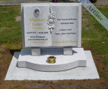 White Pearl Book And Rose Headstone
