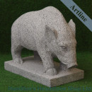 Carved Granite Wild Pig Statue